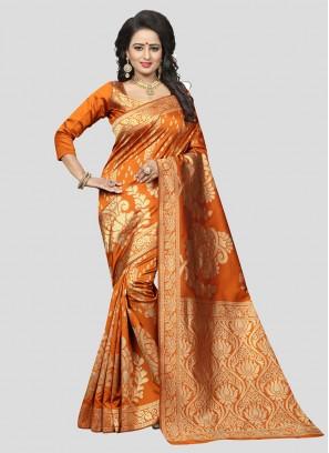 Orange Color SILK SAREES FOR WEDDING