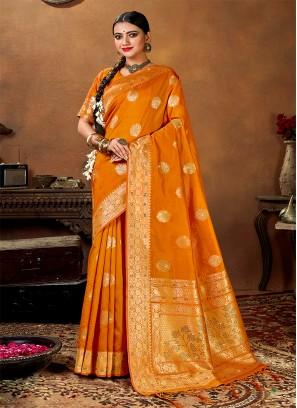 Orange Color Weaving Silk Saree