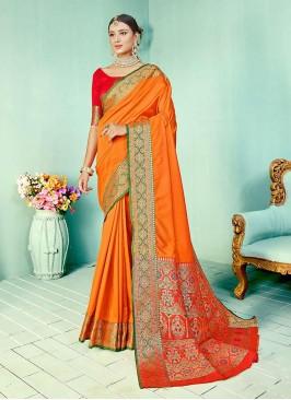 Orange Color Weaving Work Silk Saree
