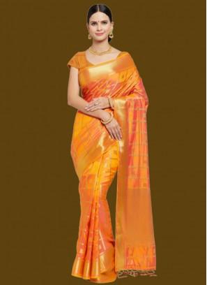 Orange Color Woven Banarasi Silk Saree