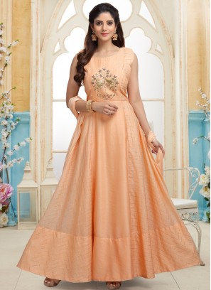 Orange Cut Dana work Party Wear Readymade Anarkali Suit