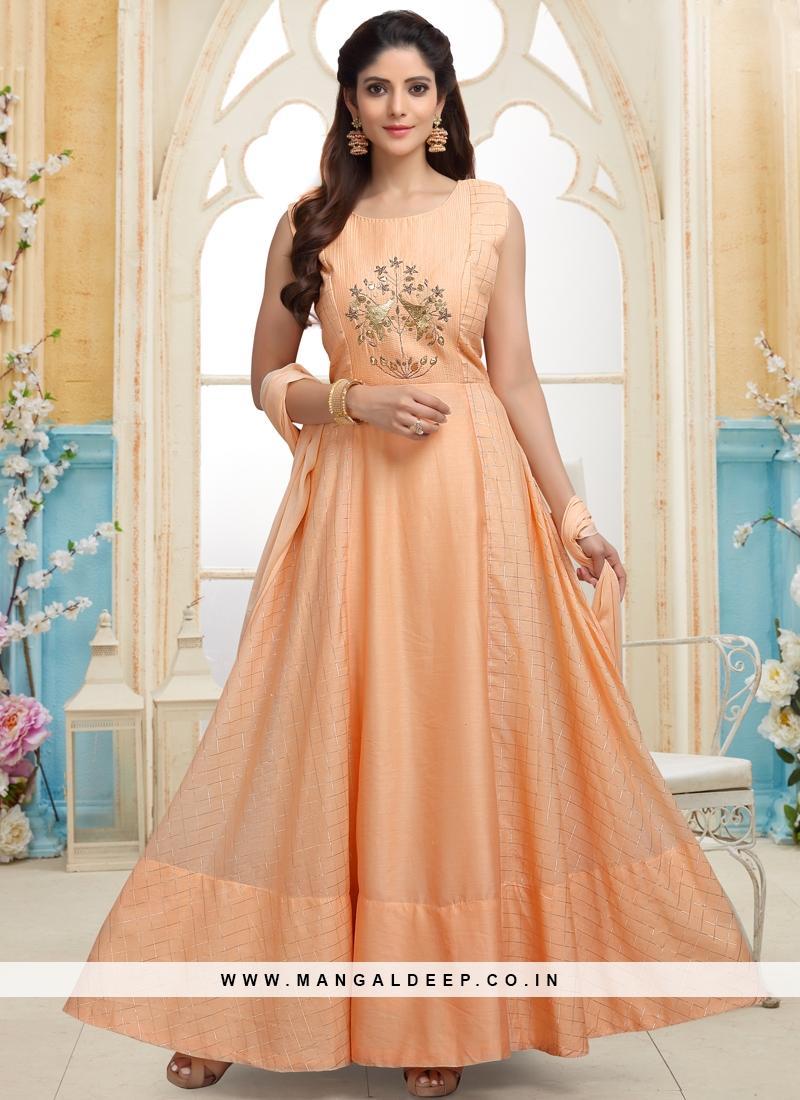 Orange Cut Dana work Party Wear Readymade Anarkali Suit