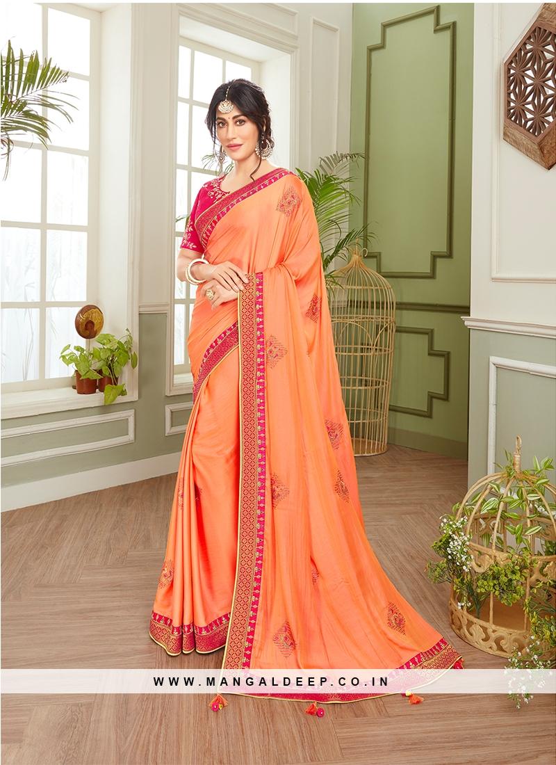 Orange Embroidered Latest Saree