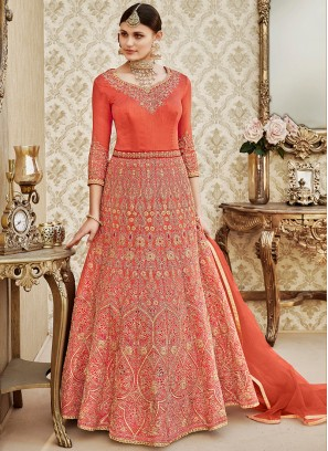 Orange Floor length anarkali Suit