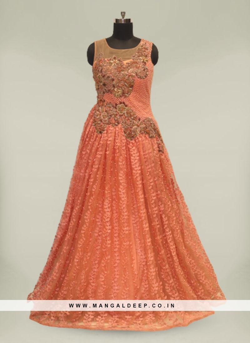 Orange Hand Work Net Ladies Gown