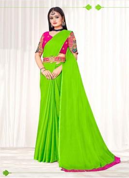 Parrot Green Color Chiffon Saree
