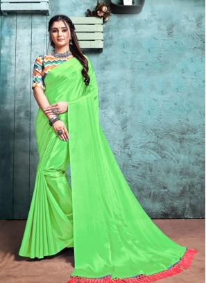 Parrot Green Color Saree
