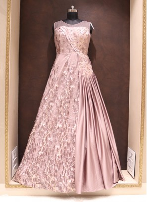 Party Wear Attractive Net Gown In Pink Color