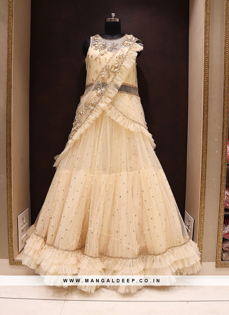 Party Wear Attractive Net Gown In Yellow Color