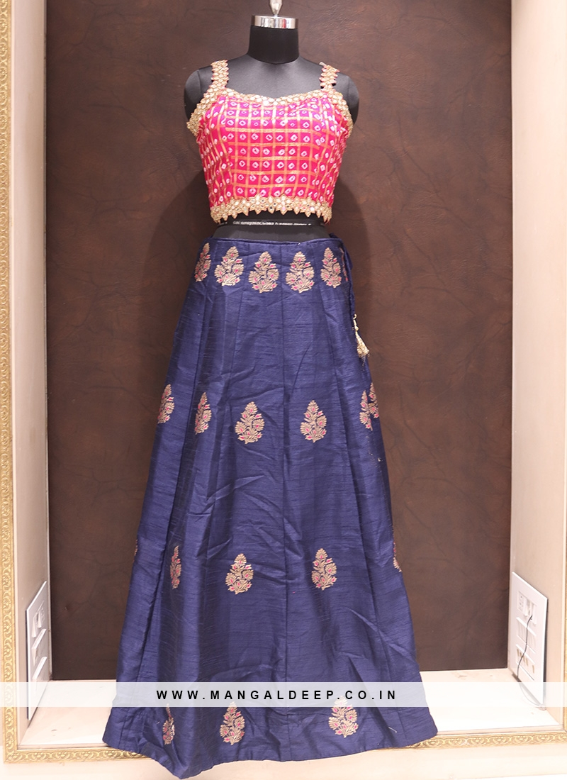 Party Wear Attractive Silk Lehenga Choli In Blue Color