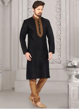 Party Wear Black Color Kurta Payjama
