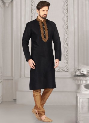 Party Wear Black Color Kurta Payjama