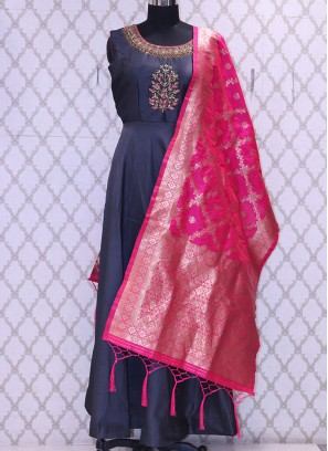 Party Wear Classic Grey Color Suit With Embroidery Work