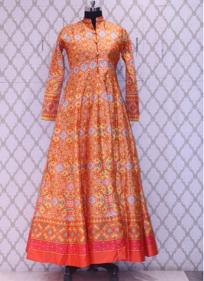 Party Wear Classic Orange Color Designer Salwar Kameez
