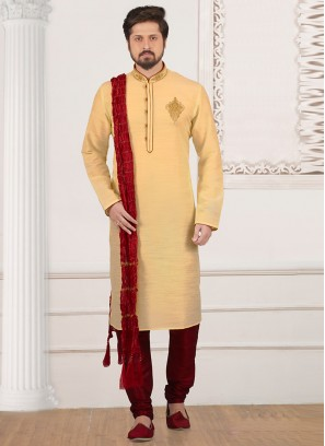 Party Wear Cream Color Kurta Payjama