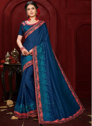 Party Wear Embroidered Saree In Blue Color