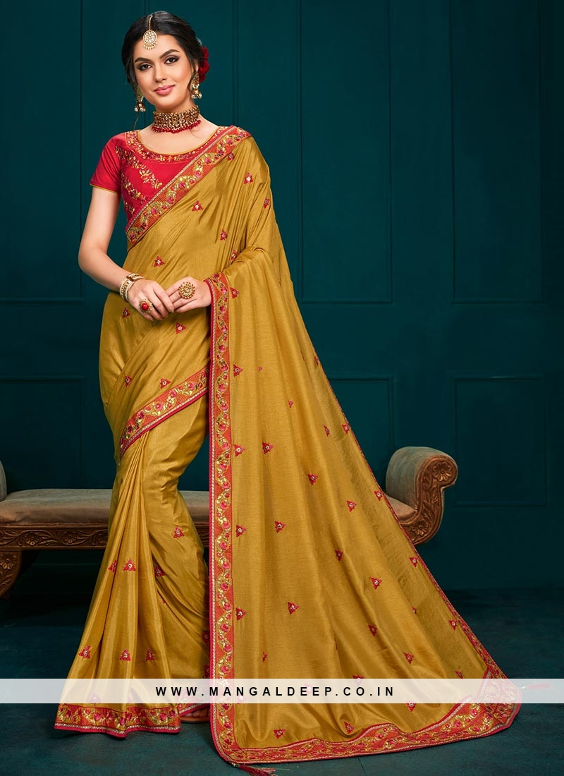 Party Wear Embroidered Saree In Mustard Color