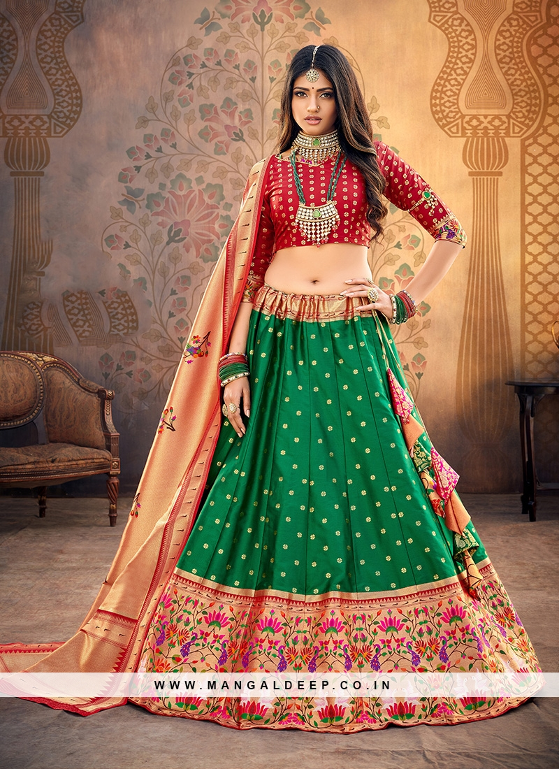 Party Wear Green Color Embroidered Lehenga Choli
