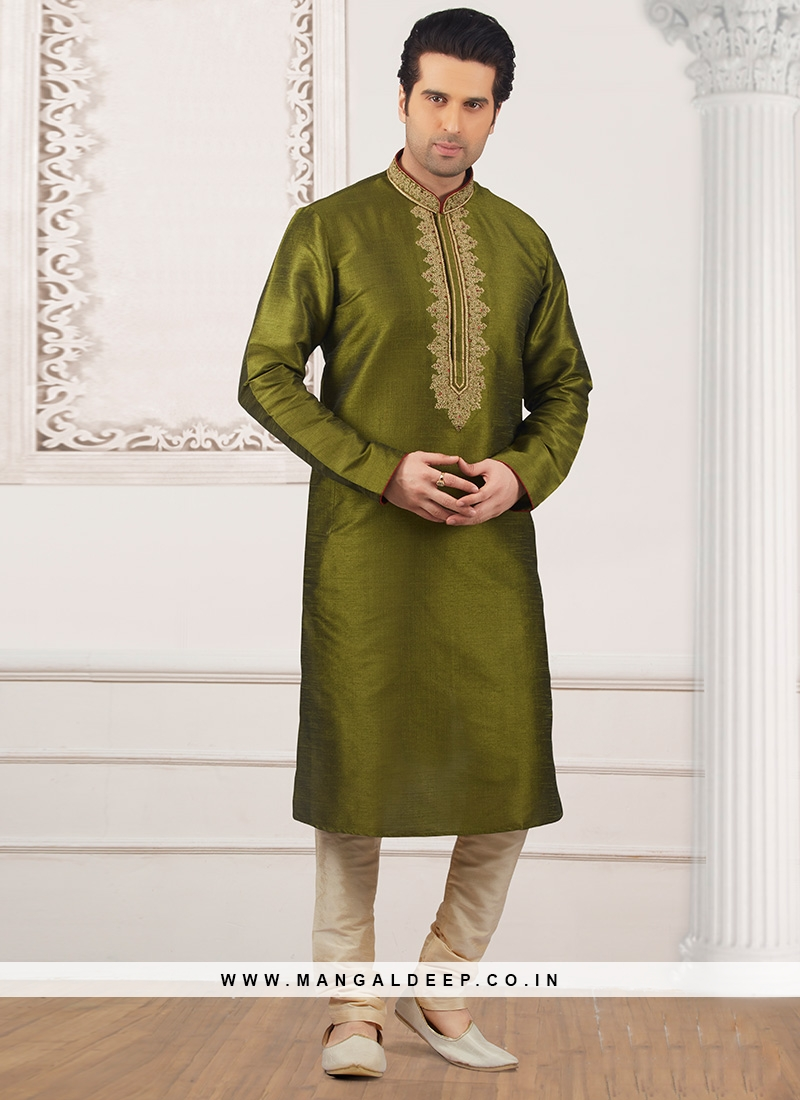 Party Wear Green Color Kurta Payjama