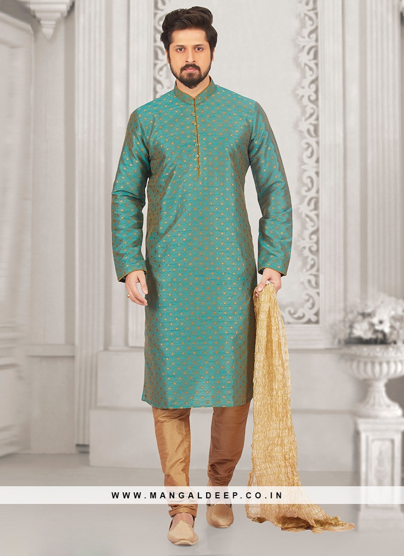 Party Wear Green Color Kurta Payjama