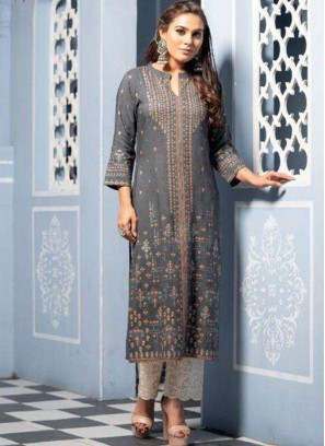 Party Wear Grey Color Designer Kurti