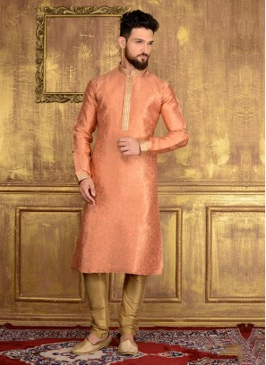 Party Wear Kurta Pajama In Peach Colour