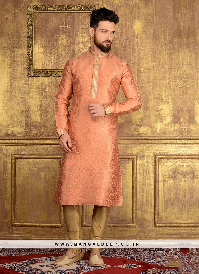 Party Wear Kurta Pajama In Peach Colour