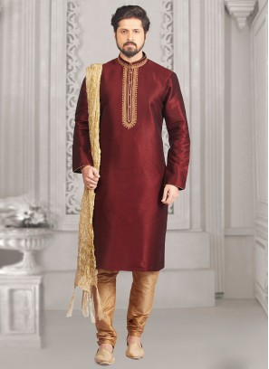 Party Wear Maroon Color Kurta Payjama