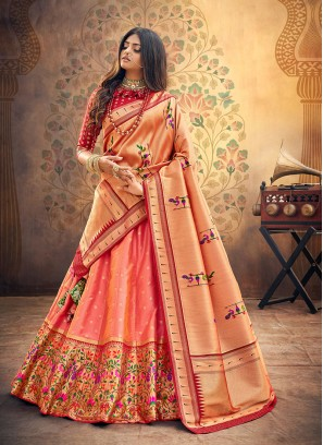 Party Wear Pink Color Embroidered Lehenga Choli