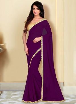 Party Wear Purple Color Georgette Saree