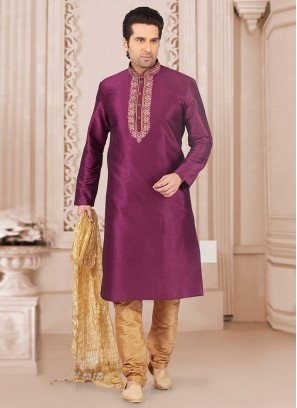 Party Wear Purple Color Kurta Payjama