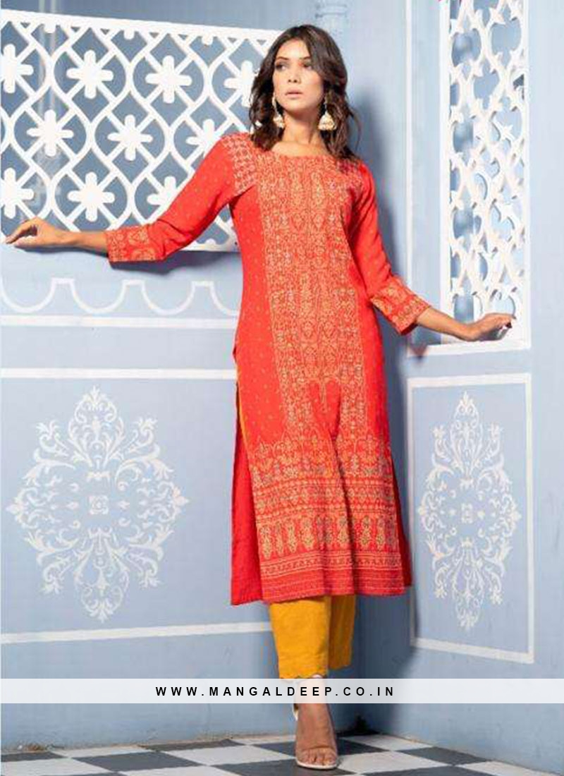 Party Wear Red Color Designer Kurti