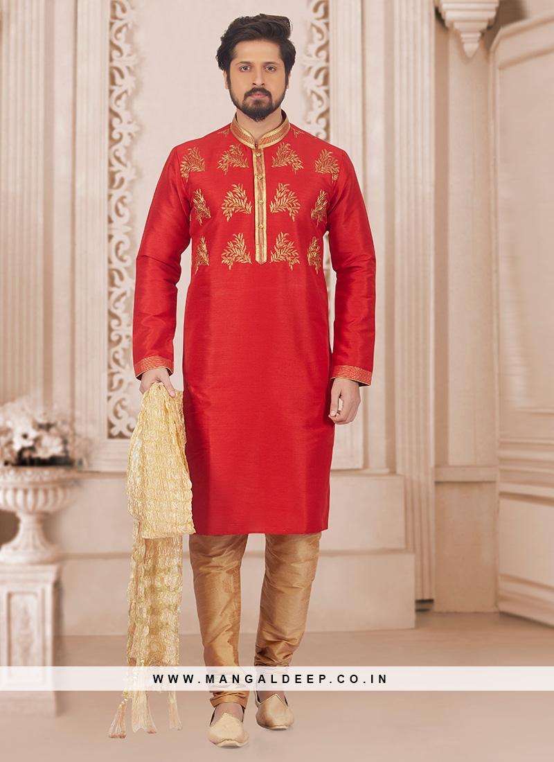 Party Wear Red Color Kurta Pyjama