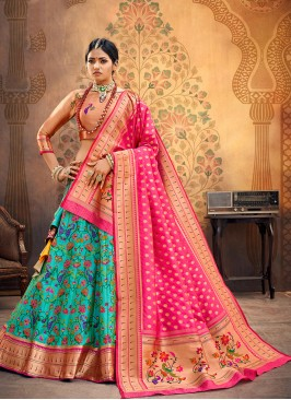 Party Wear Sky Blue Color Embroidered Lehenga Choli