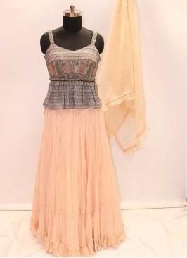 Peach And Grey Designer Lehenga Choli For Women