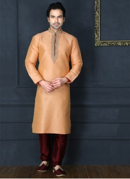 Peach Art Banarasi Silk Kurta Pajama