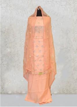 Peach Chanderi Silk Gota Work And Zari Salwar Kameez