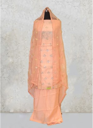Peach Chanderi Silk Gota Work And Zari Salwar Kameez