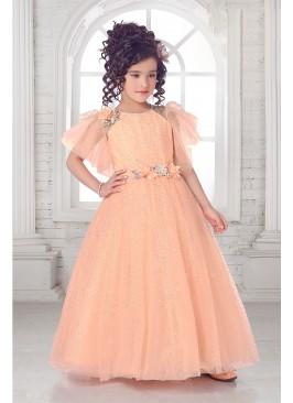 Peach Color Applique Floral Girl Gown