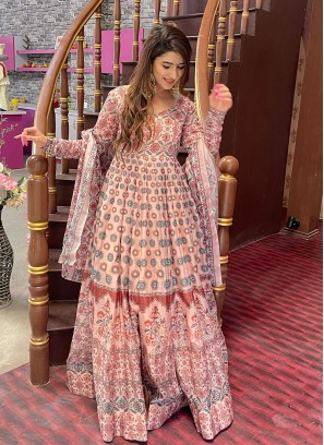 Peach Color Chanderi Printed Long Dress