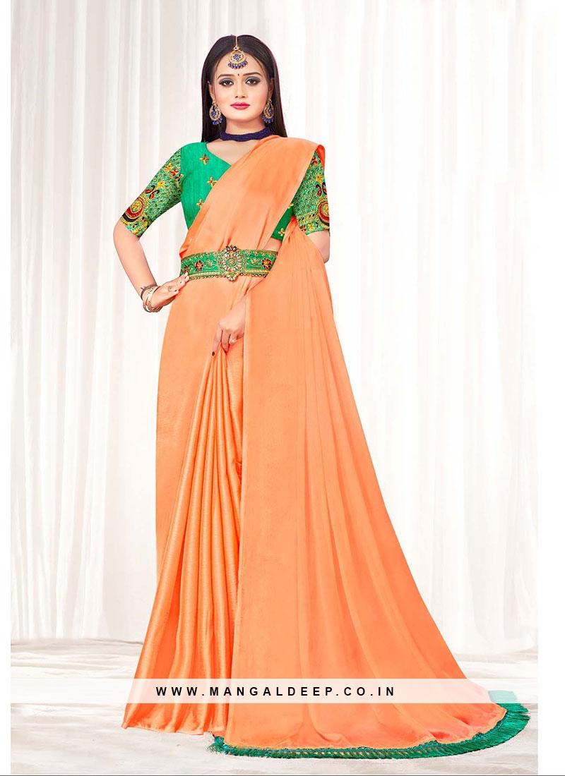 Peach Color Chiffon Saree For Ladies