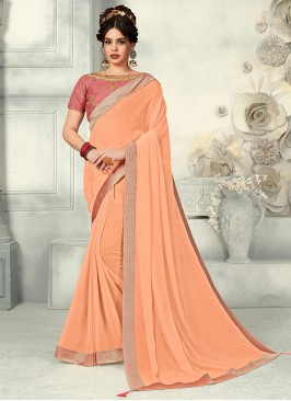 Peach Color Chiffon Saree With Unstitched Blouse