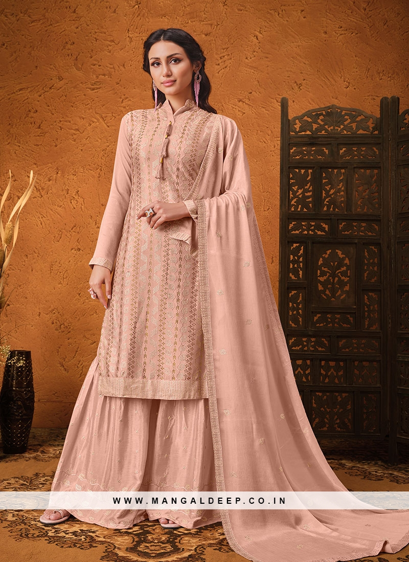 Peach Color Chinon Pakisrani Style Dress