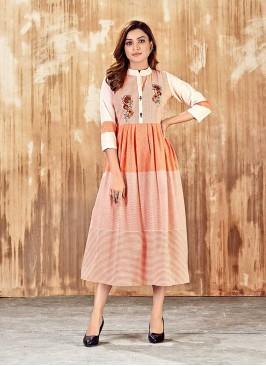 Peach Color Cotton Anarkali Kurti