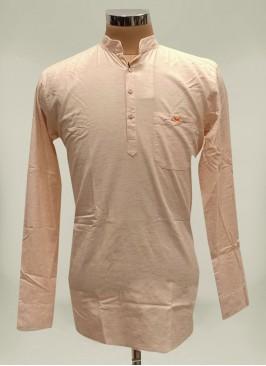Peach Color Cotton Mens Kurta