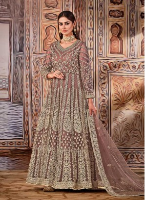 Peach Color Embroidered Anarkali Suits