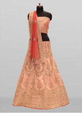 Peach Color Embroidered Silk Bride Lehenga Choli