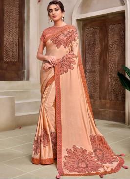 Peach Color Fancy Designer Saree