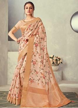 Peach Color Floral Print Silk Saree