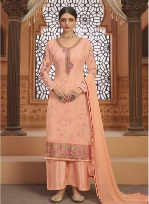 Peach Color Georgette Latest Design Suit